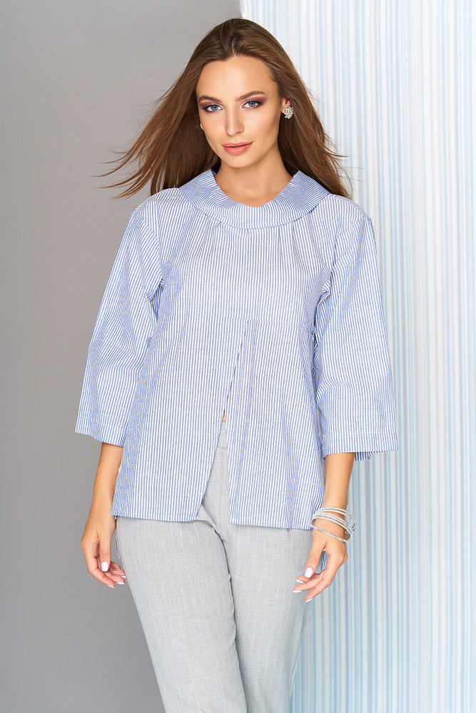 "Блуза ""L-631"" (голубая полоска)  AZZ"